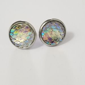 New 3/$20 Mermaid Scale Earrings 12mm